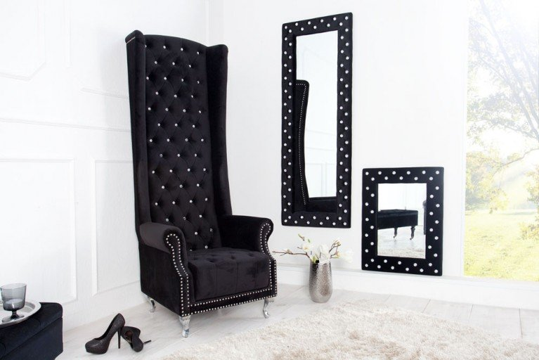 Thronstuhl Sessel ROYAL CHAIR DELUXE mit Strass Knöpfen Stoff Royal Samt schwarz