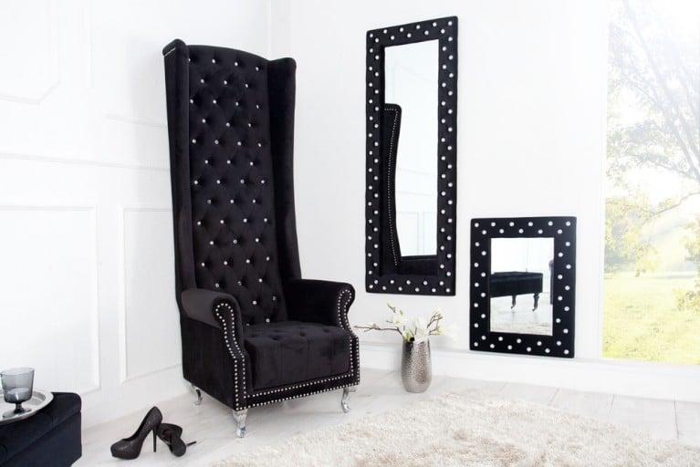 Thronstuhl Sessel ROYAL CHAIR DELUXE mit Strass Knöpfen Stoff Royal Samt schwarz