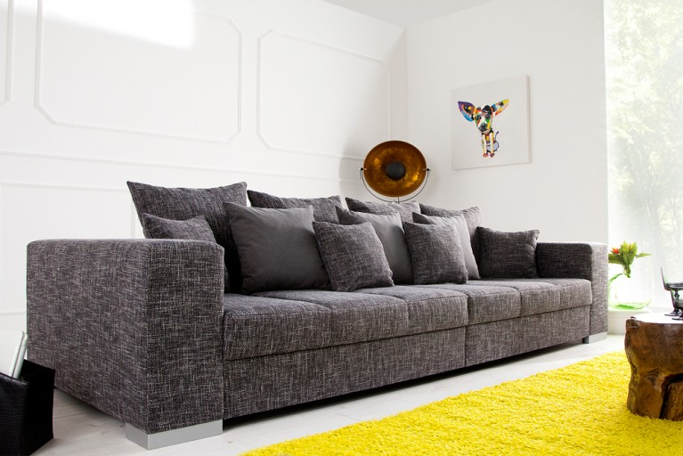 Design XXL Sofa BIG SOFA ISLAND in grau charcoal Strukturstoff inkl. Kissen