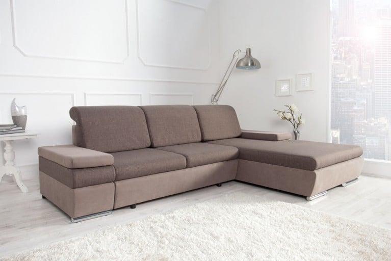 Modernes Design Ecksofa SELECT light coffee Strukturstoff Bettfunktion OT rechts