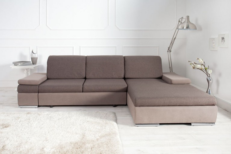 Modernes Design Ecksofa SELECT light coffee Strukturstoff Bettfunktion OT rechts