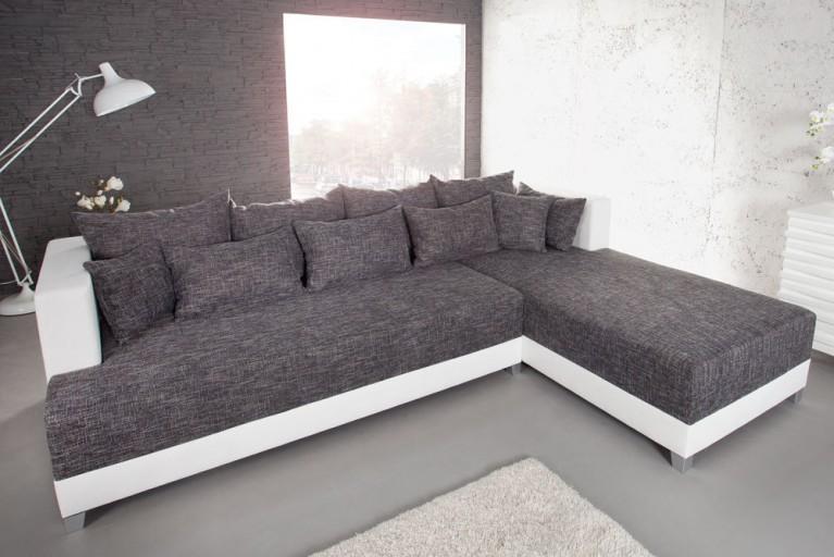 Design Ecksofa STAR Strukturstoff in grau charcoal und weiß inkl. Kissen, Bettkasten Bettfunktion OT rechts