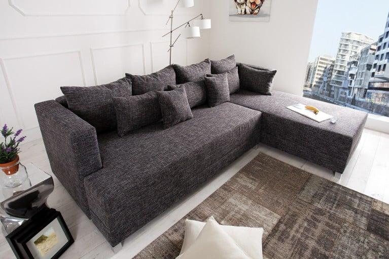 Design Ecksofa STAR Strukturstoff in anthrazit grau inkl. Kissen, Bettkasten und Bettfunktion OT rechts