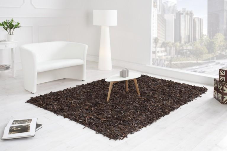 Exklusiver Vintage Teppich WILD WEST braun Echtleder Shaggy 140x200cm