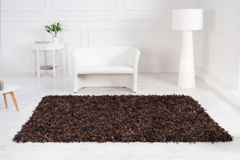 Exklusiver Vintage Teppich WILD WEST braun Echtleder Shaggy 160x230cm
