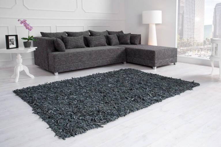 Exklusiver Vintage Teppich WILD WEST grau Echtleder Shaggy 140x200cm