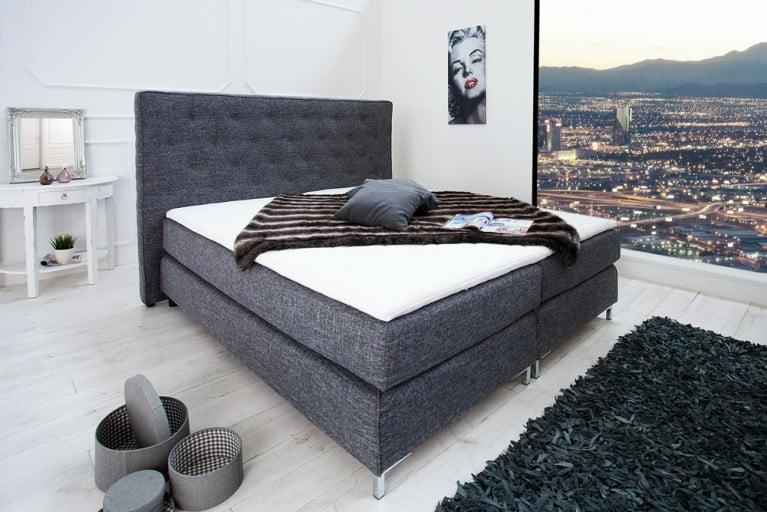 Stilvolles Boxspringbett PRESTIGE 180x200 cm anthrazit mit Strukturstoff inkl. Matratze und Topper