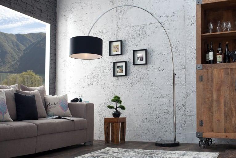 Design Bogenleuchte LOUNGE DEAL mit schwarzem Natur Leinen Schirm ausziehbar