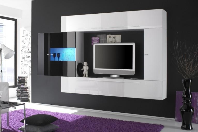 Exklusive Design Wohnwand MODERN ART made in Italy schwarz-weiß Hochglanz