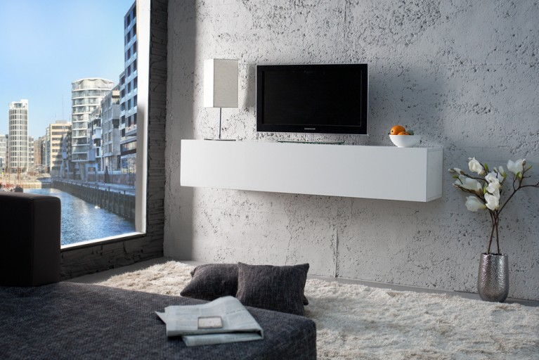 Moderner Design CUBE weiß Highgloss Wandregal TV Board made in Italy