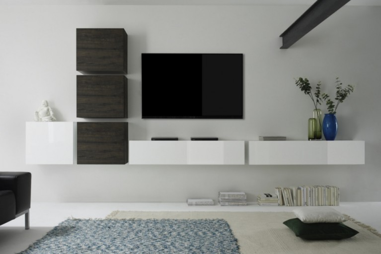 Moderne CUBE Wohnwand MILANO No.3 made in Italy Highgloss und Wenge Optik Wandschränke im Cube-Look