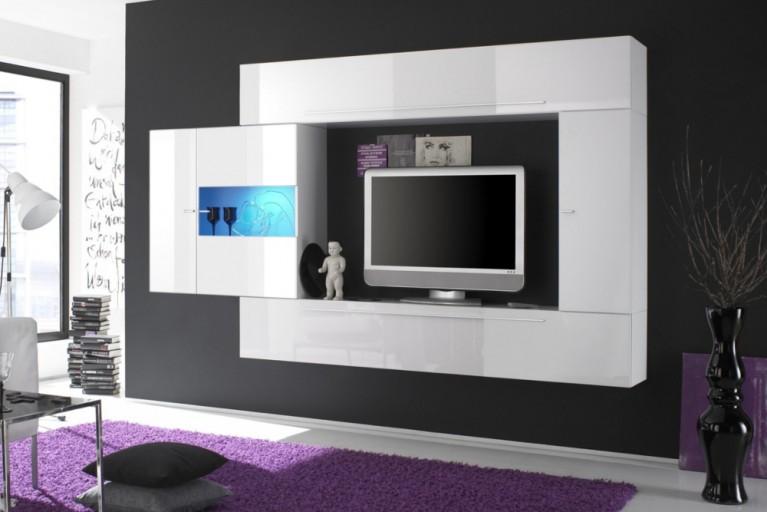 Exklusive Design Wohnwand MODERN ART made in Italy weiß Hochglanz
