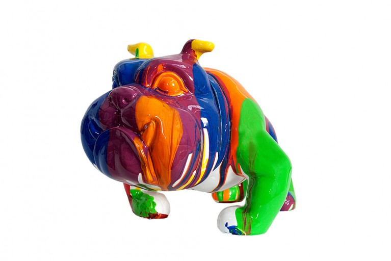 Bunte Skulptur POP ART BULLDOGGE Kunstobjekt farbiger Hund handbemalt