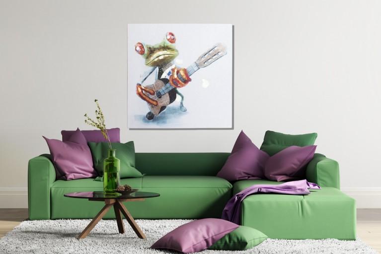 Handgemaltes Ölgemälde FROG Bild auf Keilrahmen Canvas Leinengewebe