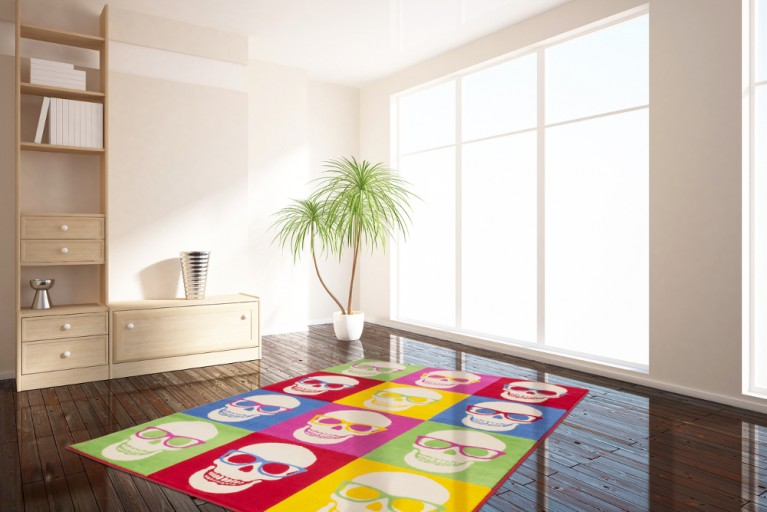 Design POP ART Teppich SKULL NERD 160x230cm