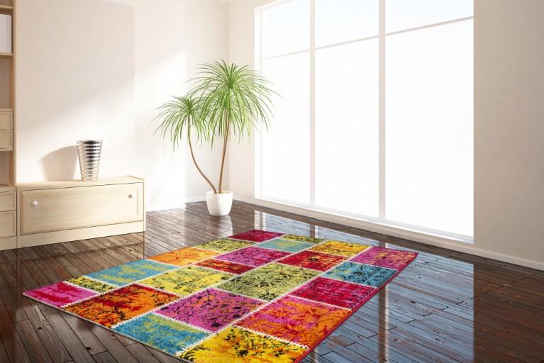 Einzigartiger Ornament Teppich WOODSTOCK Patchwork Design 160x230cm