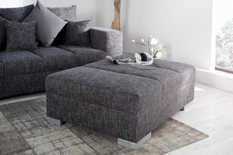 Hocker zum Sofa BIG SOFA ISLAND Strukturstoff grau charcoal