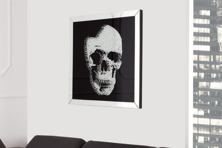 Exklusive Wandskulptur Bild MIRROR SKULL Diamond Skull 60x60 cm