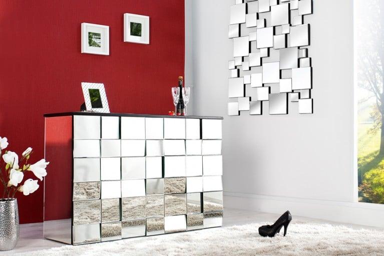 Design Glaskonsole MULTIPLO 130cm Bartresen mit 42 Facette Spiegel Fronten