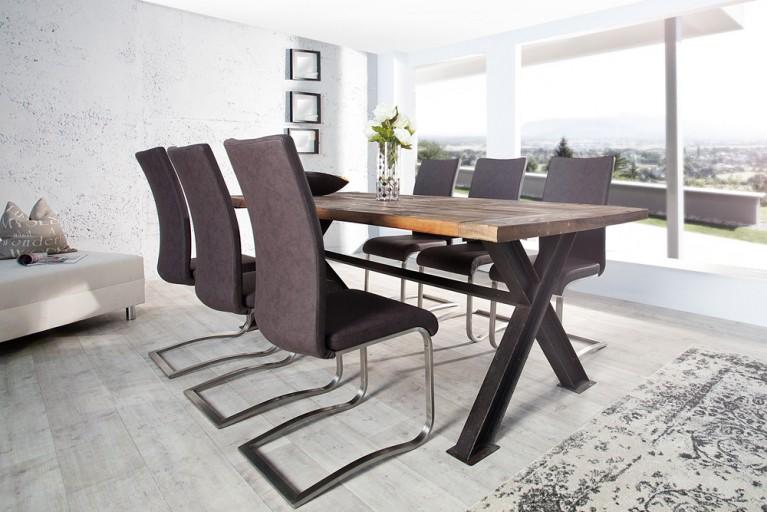 Premium Freischwinger Stuhl ARCO Original MCA antik braun mit gebürstetem Edelstahlrahmen