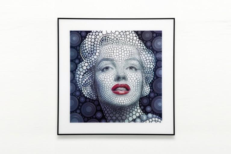 KARE DESIGN Exklusives 3D Wandbild Marylin Monroe 60x60 cm POP ART Pointillismus - Digital Circlism Art - By Ben Heine