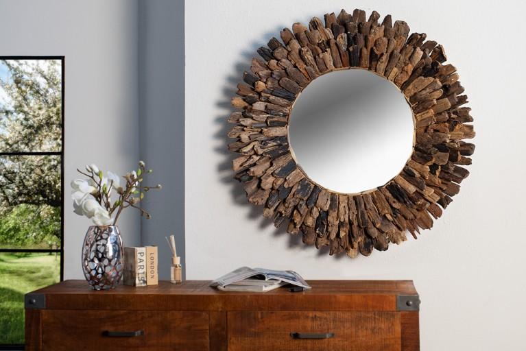 Runder Design Spiegel DRIFTWOOD 100cm Treiholz