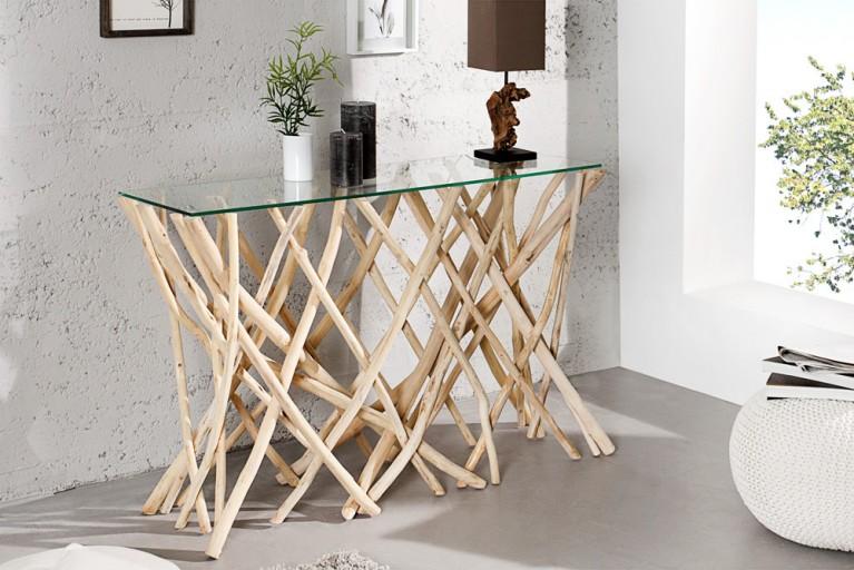 Design Teakholz Konsole DRIFTWOOD 120cm mit Glasplatte