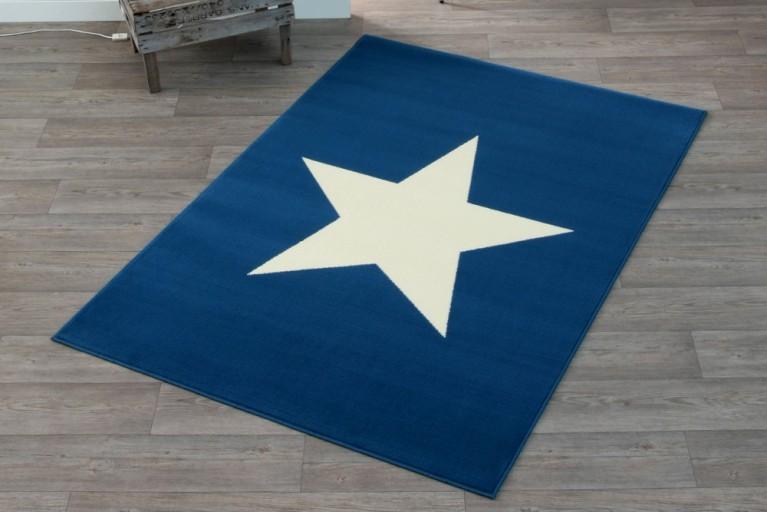 Design Teppich BRIGHT STAR NAVY mit Stern 140x200 cm dunkelblau