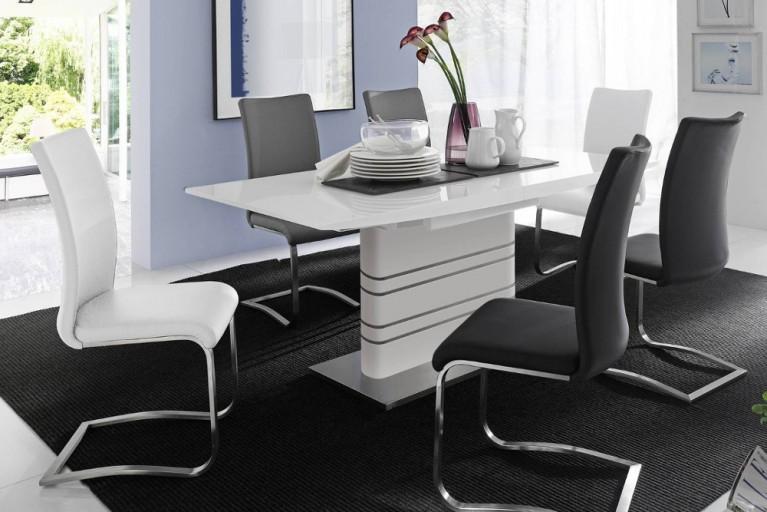 Premium Freischwinger Stuhl ARCO weiß mit gebürstetem Edelstahlrahmen und bestem Sitzkomfort