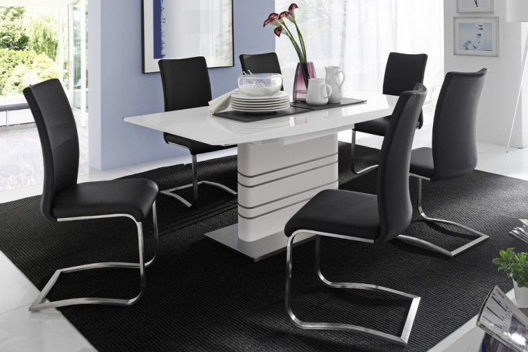 Premium Freischwinger Stuhl ARCO Original MCA schwarz mit gebürstetem Edelstahlrahmen und bestem Sitzkomfort