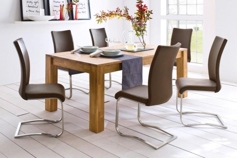 Premium Freischwinger Stuhl ARCO cappuccino mit gebürstetem Edelstahlrahmen und bestem Sitzkomfort