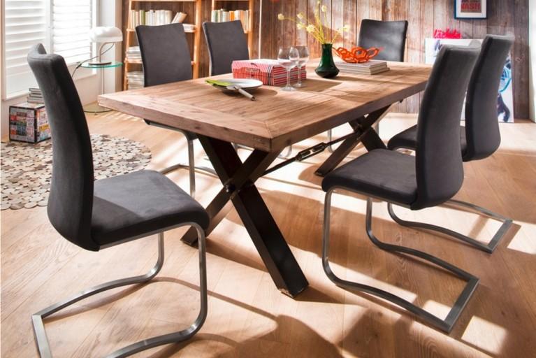 Premium Freischwinger Stuhl HEART OF STEEL Antik Look grau mit gebürstetem Edelstahlrahmen und bestem Sitzkomfort