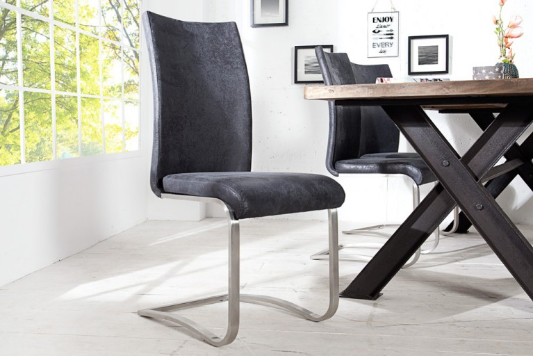 Premium Freischwinger Stuhl ARCO antik look grau mit gebürstetem Edelstahlrahmen und bestem Sitzkomfort
