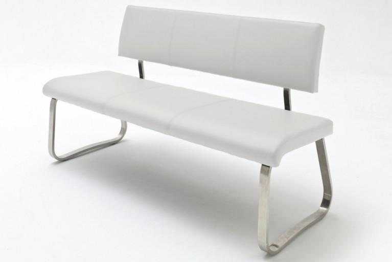 Premium Sitzbank ARCO weiß mit gebürstetem Edelstahlrahmen und bestem Sitzkomfort inkl. Lehne
