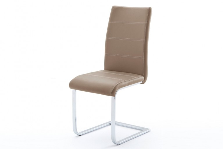 Freischwinger Stuhl FRANKY Orginal MCA cappuccino mit Kontrastnaht hochwertig verchromter Flachstahl