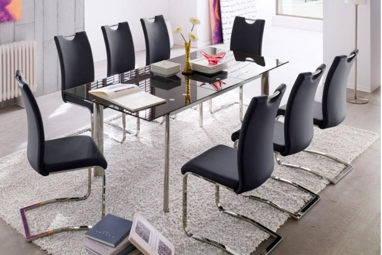Hochwertiger Freischwinger Stuhl KÖLN Original MCA schwarz mit ergonomischer Rückenlehne und Tragegriff