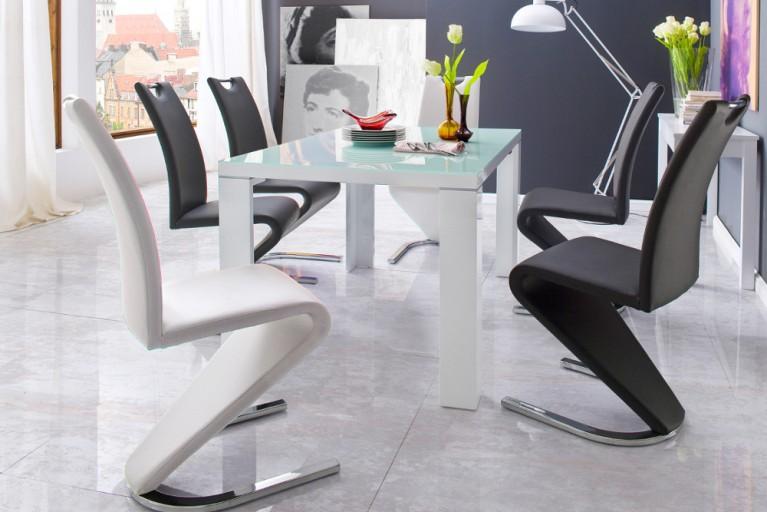 Hochwertiger Freischwinger Stuhl AMADO Original MCA weiß im außergewöhnlichem Z-Design inkl. Komfortgriff