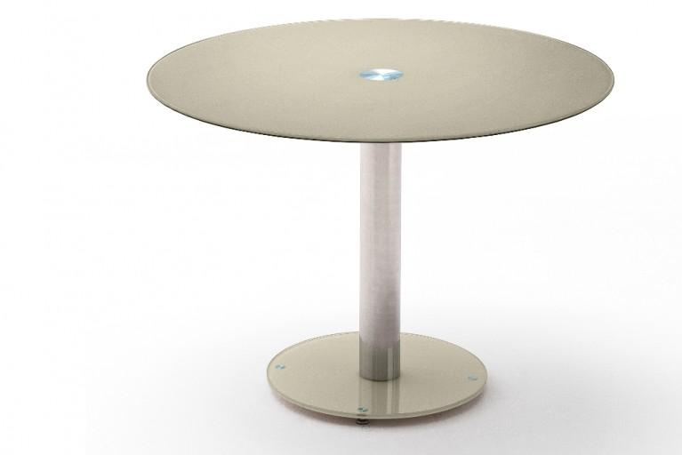 Exklusiver Esstisch Bistrotisch FALKO aus echtem Opalglas taupe mit Chromgestell Original MCA