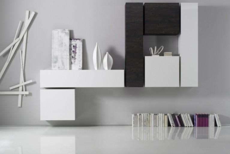 Moderne CUBE Wohnwand MILANO No.4 made in Italy Hochglanz Weiß und Wenge Wandschränke im Cube-Look