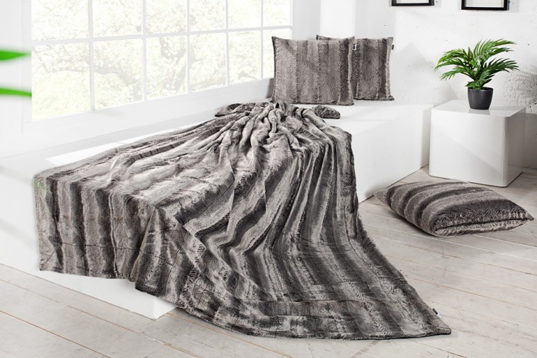 Edles Design Wildfell TIBET 150x200cm grau anthrazit Plaid Decke in Wildfell-Optik