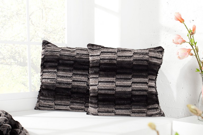 Edles Design Kissen TIBET 50cm schwarz/braun Dekokissen in Wildfell-Optik