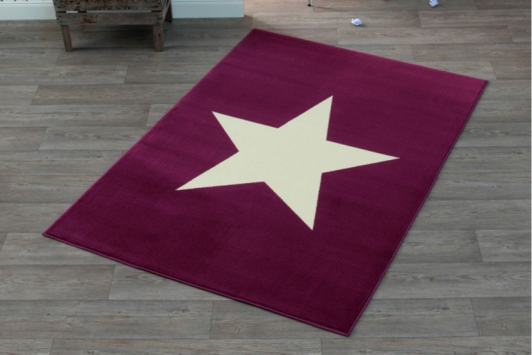 Design Teppich BRIGHT STAR VIOLET mit Stern 140x200 cm lila