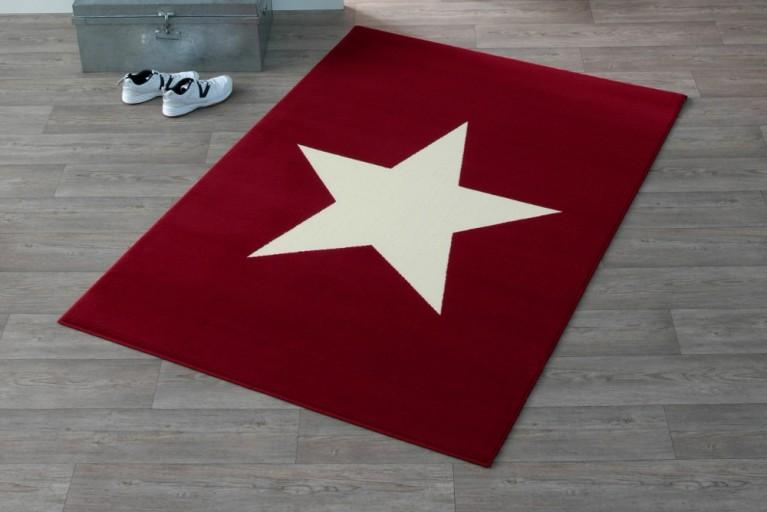 Design Teppich BRIGHT STAR FIREBRICK mit Stern 140x200 cm rot