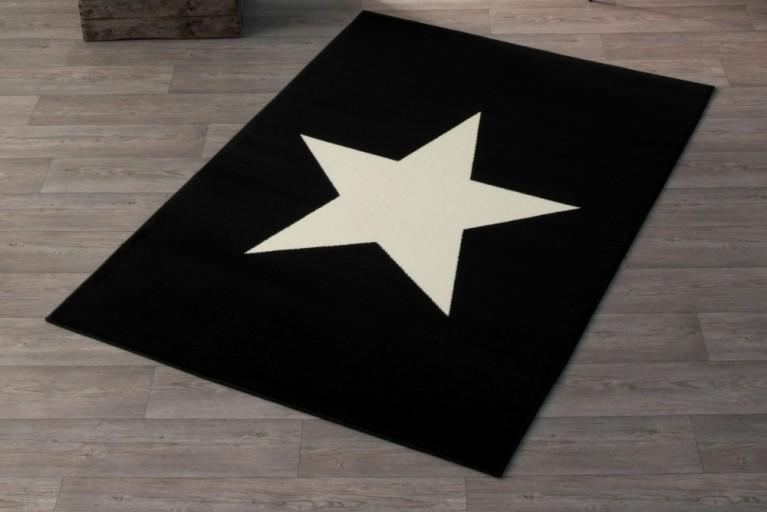 Design Teppich BRIGHT STAR BLACK mit Stern 140x200 cm schwarz