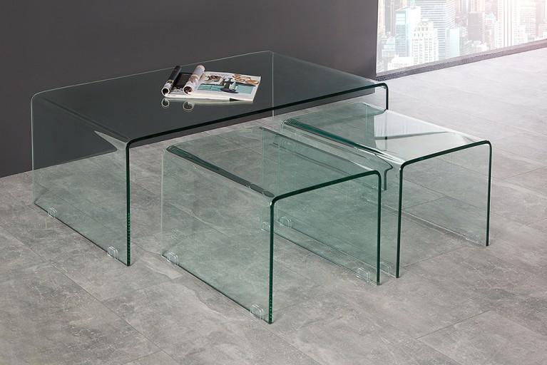 Modernes 3er Set Glas Couchtische GHOST Beistelltische transparent