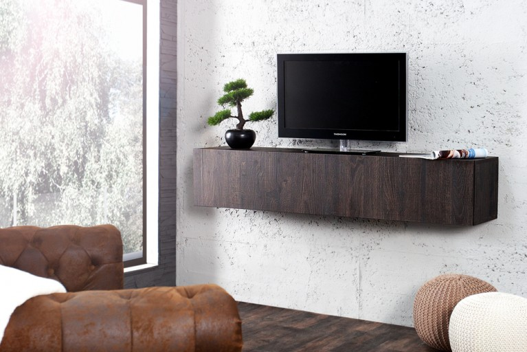 Moderner Design CUBE Eiche wenge-Optik Wandregal TV Board made in Italy