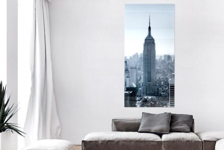 Eindrucksvoller Glas Kunstdruck EMPIRE STATE BUILDING 160x70cm auf Glas