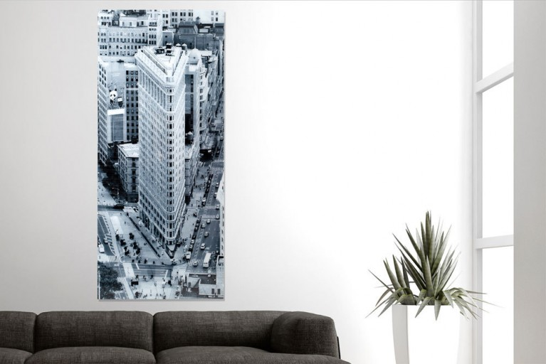 Eindrucksvoller Glas Kunstdruck FLATIRON BUILDING New York 160x70cm auf Glas