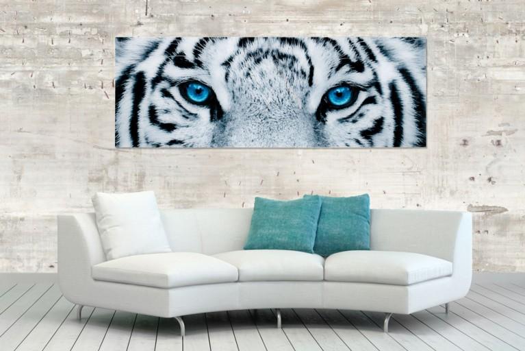 Faszinierendes Bild FIXION 50x140cm Kunstdruck auf Glas Tiger