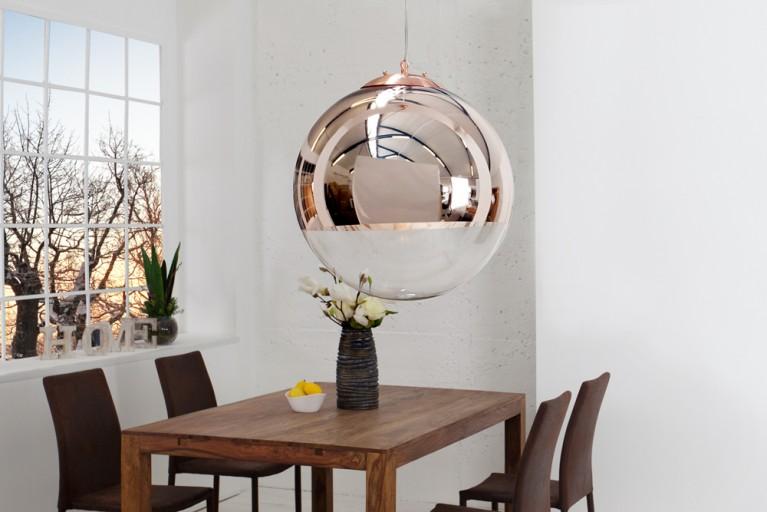 Edle Design Hängelampe GLOBE 30cm Glas Kupfer Kugelleuchte